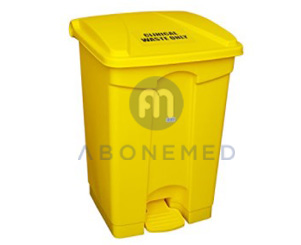 Yellow Medical Clinical Waste Peddle Bin Plastic