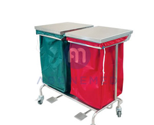Linen Trolley Double Bag with Lid