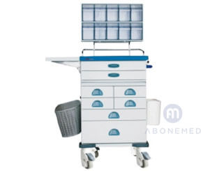 Anesthesia Trolley with Tilt Bin Organizers